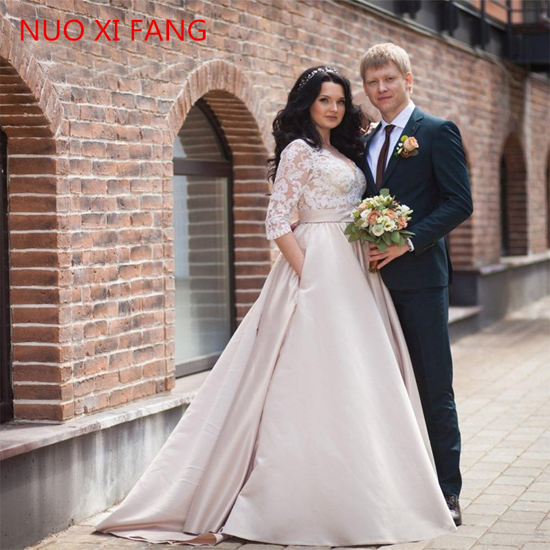 NUOXIFANG Wedding Dresses 2020 Plus Size Stain And Lace Appliques Vestido De Noiva Half V Neck With Pocket Bridal Dress Rome