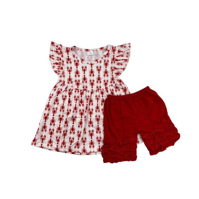 ילדה של בוטיק בגדי סט כותנה ילדים של ילדים גדולים של סרטנים בגדים