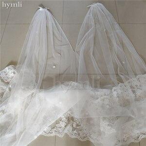 Image 3 - 400 سنتيمتر طويل * 280 سنتيمتر واسعة الزفاف كيب الحجاب كاتدرائية الحجاب الدانتيل فستان الزفاف عباءة ملحق في الأبيض ، أوف وايت ، العاج # ZM001KD
