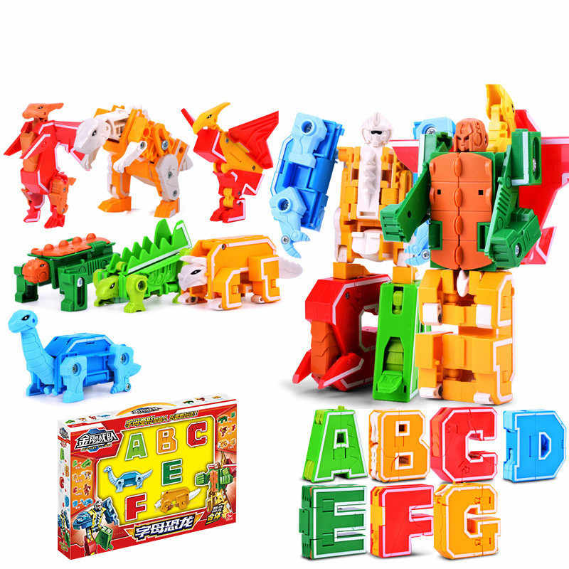 26 English Letter Transformer Alphabet Robot Animal Creative Educational Action Figures Legoed Building Blocks Toy Kids Gifts