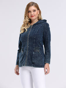 Jacket Clothing Hoodie Shoulder-Pads Slim-Fit Plus-Size Women's Denim Casual for HUA