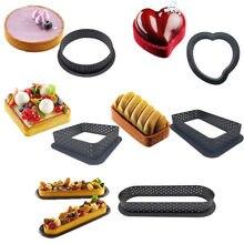 6 unids/set Tarte anillo de plástico perforada de anillos no-stick tarta molde para Mousse cortador de círculos utensilios para horneat DIY Kit