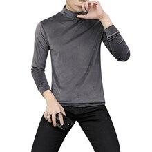 Pullover  gold velvet sweatshirt men's long-sleeved top half-high collar autumn shirt men's solid color Slim pullover sweatshirt skew collar pullover sweatshirt with graphic