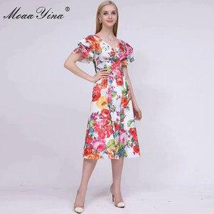 Moaayina 夏の女性のドレス v ネックバタフライスリーブ花柄休暇 5XL ドレス