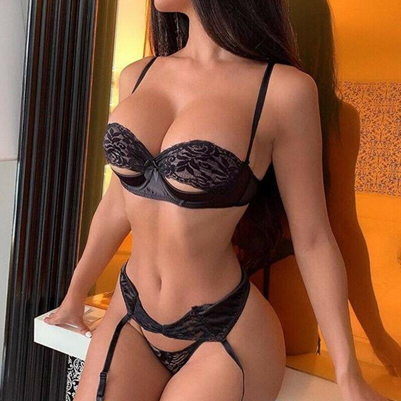 Sexy-Lingerie-Underwear-Sleepwear-Women-G-string-Bra-Lace-Babydoll-Nightwear Lady Sexy Lace Bikini Cover up Beachwear(China)