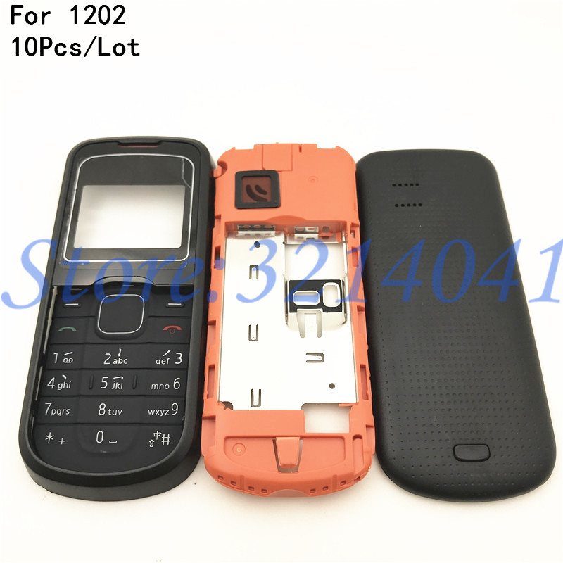 10Pcs/Lot For <font><b>Nokia</b></font> <font><b>1202</b></font> New Full <font><b>Housing</b></font> Case Cover Front Frame With Key Board Display Glass+Middle Frame+Back Cover With Logo image