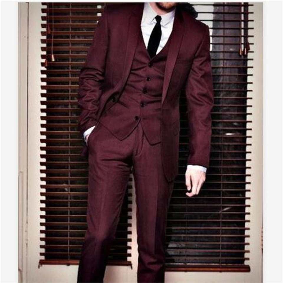 New Men's Suit Smolking Noivo Terno Slim Fit Easculino Evening Suits For Men Burgundy Groom Tuxedos Groomsman Best Man Party Pro