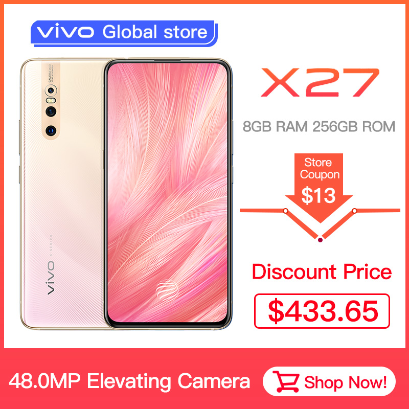 Original Vivo X27 Mobile Phone Celular Android 9.0 Snapdragon Octa Core 8+128 Fingerprint 48.0MP AI HiFi Elevating  Camera