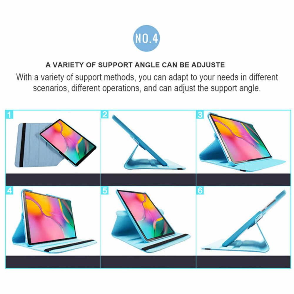 360 Derajat Berputar PU Kulit Kasus untuk Samsung Galaxy Tab S5E 10.5 2019 SM T720 T725, flip Stand Smart Tablet Shell