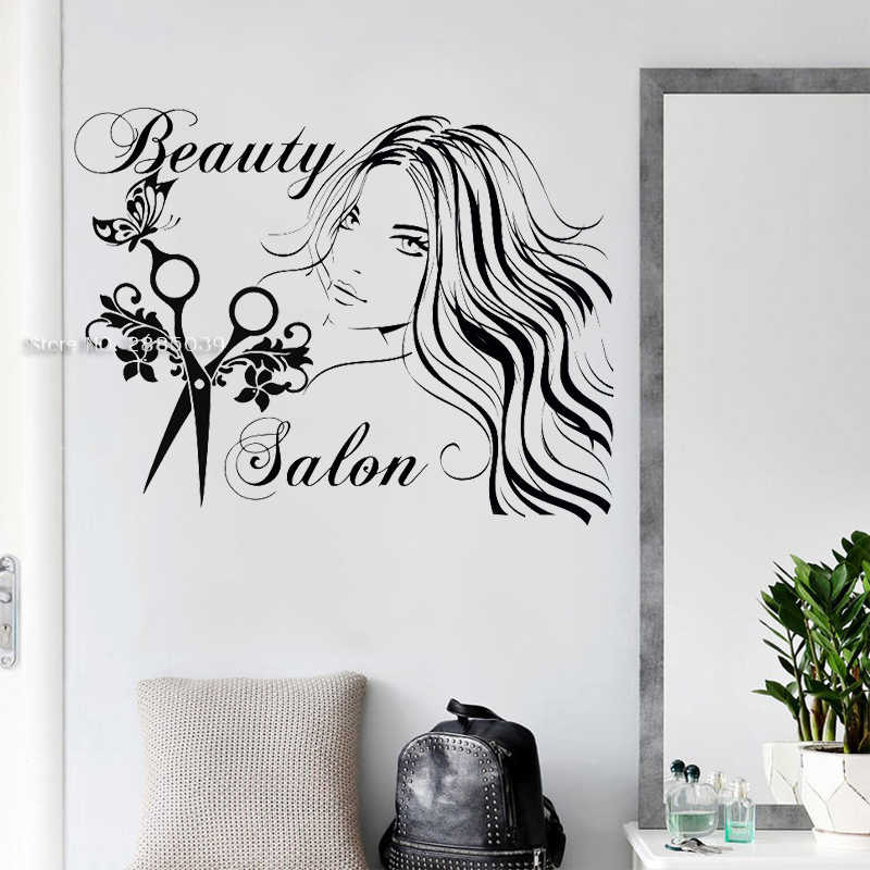 Haar Studio Teken Muurtattoo Schoonheidssalon Vinyl Sticker Schaar Wall Art Decor Fashion Kappers Art Muurschilderingen Meisje Decor LC1731