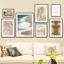 Sea Waves Beach Church Golden Palm Leaves Wall Art Canvas Painting Nordic Posters And Prints Wall Pictures For Living Room Decor