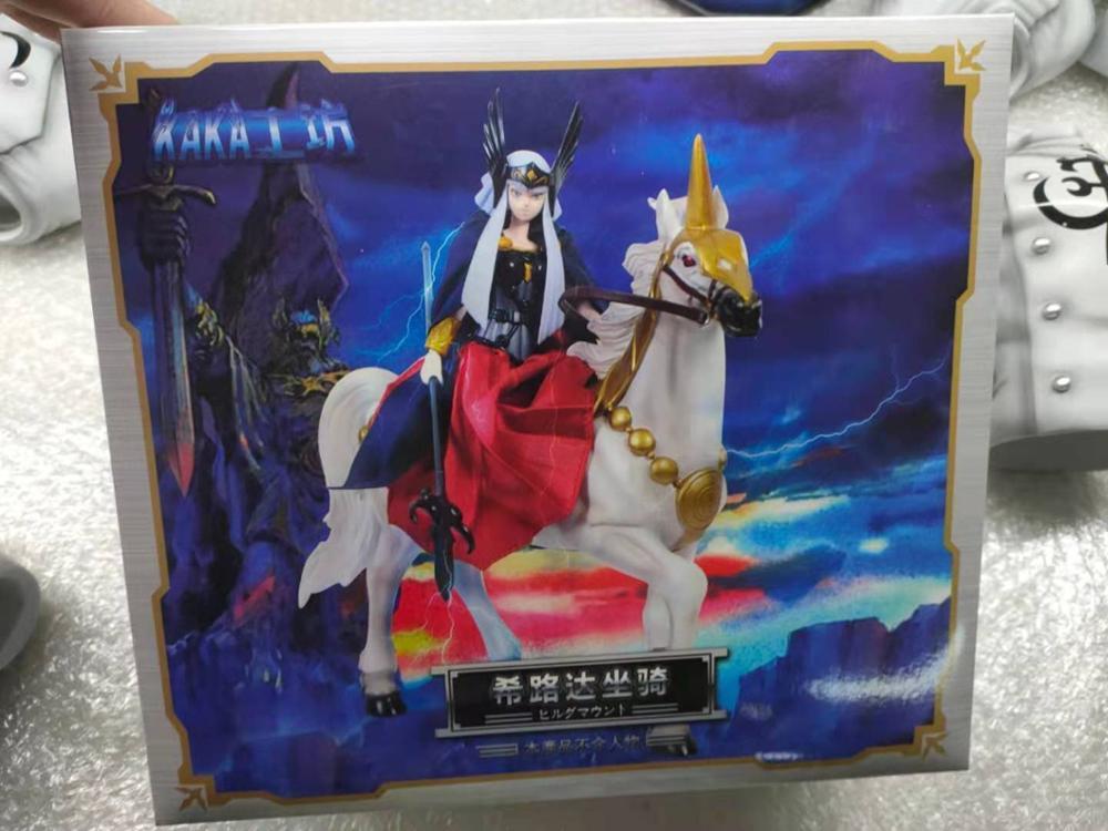 KAKA modèle Saint seiya Hilda balade cheval blanc Statue tissu mythe saint Crstal saint Figure