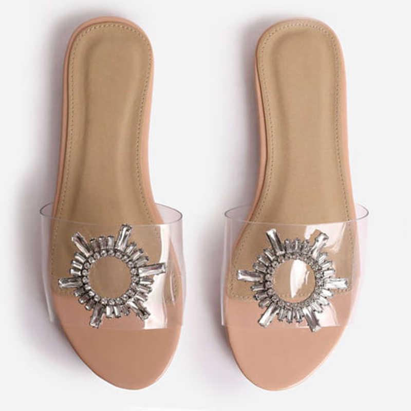 Sıcak satış boyutu 41 42 moda net PVC şeffaf Flats sandalet kadın ayakkabı Rhinestone ayçiçeği sandalet yaz ayakkabı