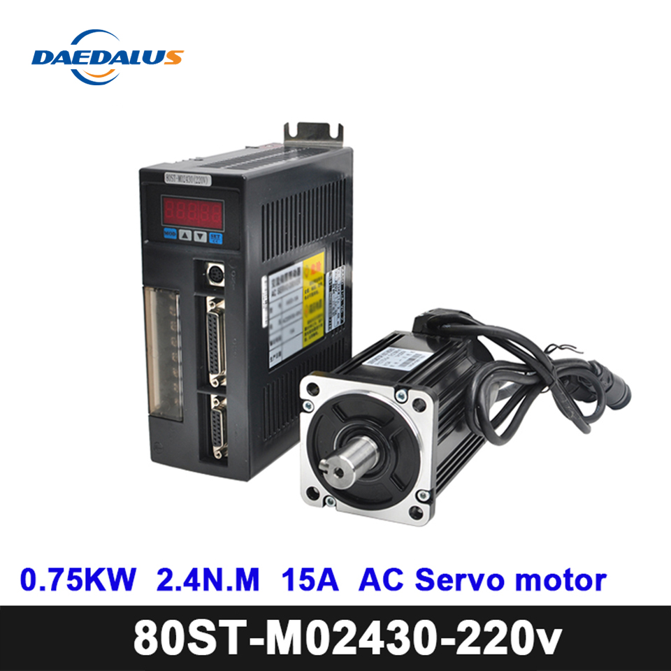 80ST-M02430 <font><b>220V</b></font> AC 750W Servo <font><b>Motor</b></font> 2.4N.M 3000RPM Servo <font><b>Motor</b></font> Single-Phase AC Drive Permanent Magnet Matched Driver AASD-15A image