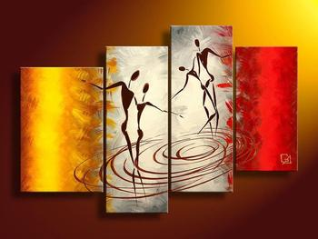 Modern 100% Hand Painted Abstract Canvas Dancing Painting 4 Piece Panel Wall Art Living Room Wall Decor Home Decoration