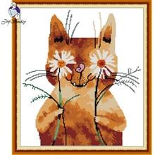 Joy Sunday,Shy cat,cross stitch embroidery,Cartoon cross pattern,cross needlework,Animal pattern kit