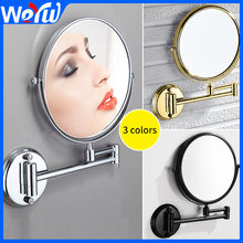 Wall Mirror Round Bathroom Makeup Mirror Stainless Steel Double Face Dressing Mirror Rotating Cosmetic Silver Make Up Tool