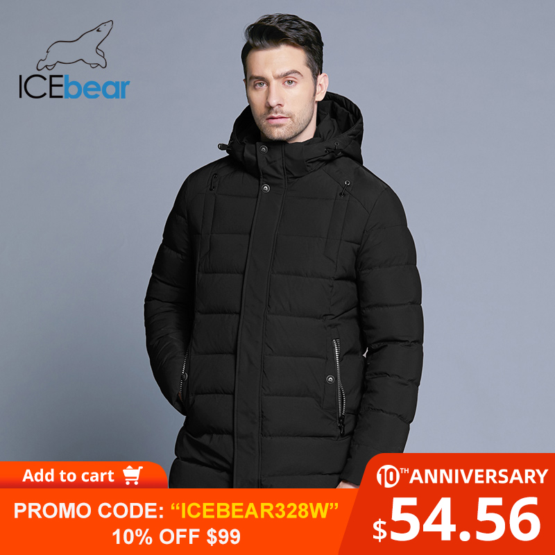 ICEbear 2019 New Men's Winter  Jacket Warm Detachable Hat Male Short Coat Fashion Casual Apparel Man Brand Clothing MWD18813D