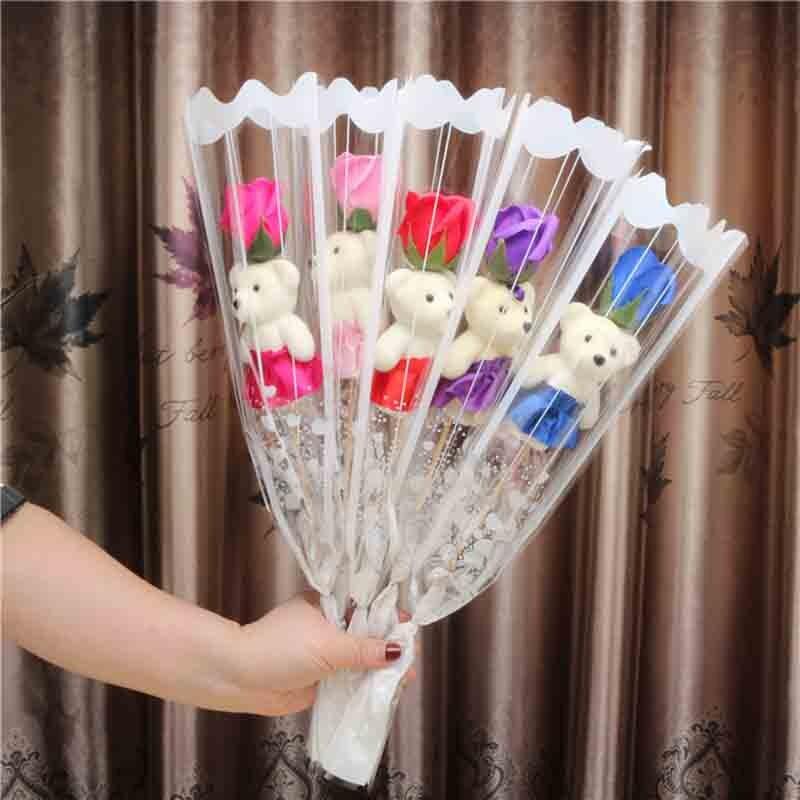 Cheap 1pcs romantic Valentine's Day creative gift bear rose flower soap cartoon bouquet party wedding decoration multicolor(China)