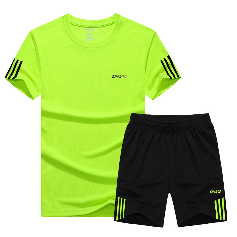 Summer Men's Thin Short Sleeve Quick-Dry Sports Casual Short Sleeve Set Training Suit Running Basketball Morning Run Loose And P
