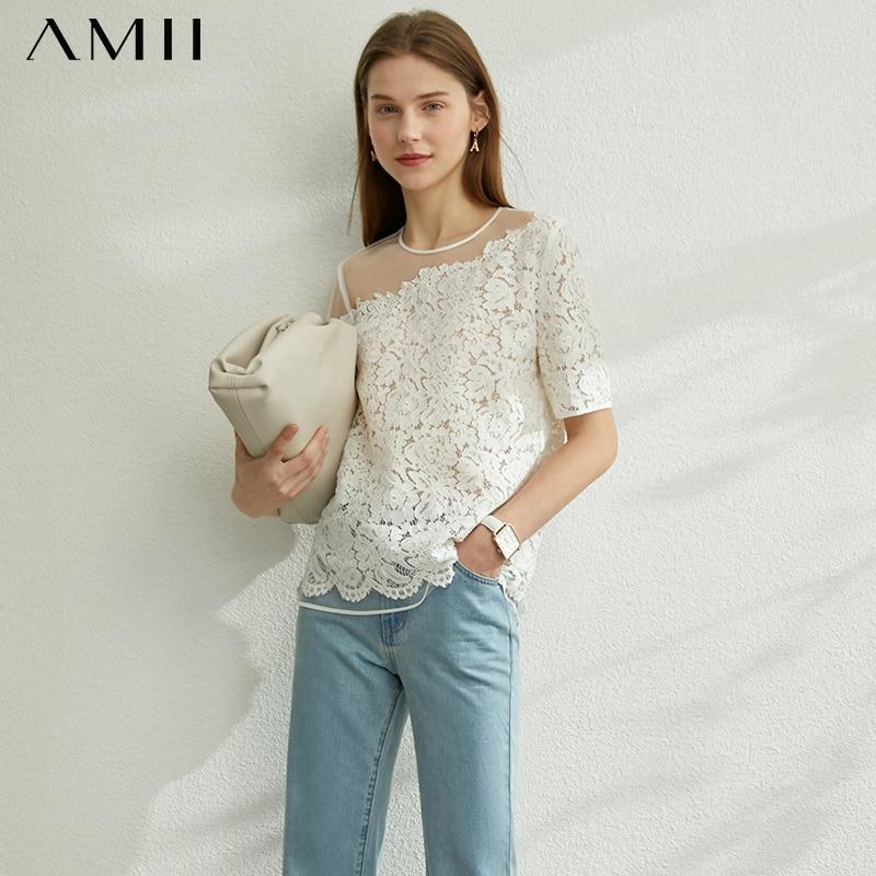 AMII Minimalism Spring Summer Lace Splice Women Tshirt Causal Oneck Short Sleeves Loose Female Tshirt 12070231