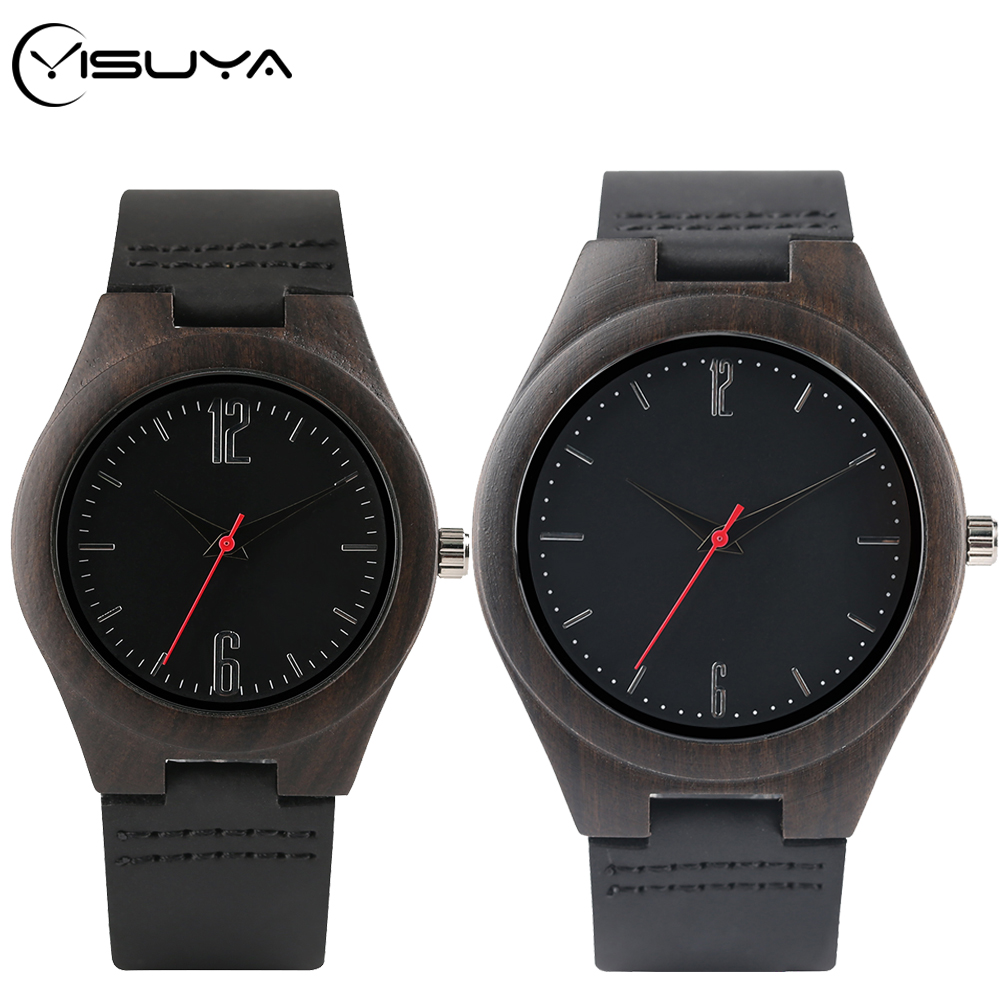 YISUYA Top Lovers Gifts Retro Ebony Wood Watch Mens Natural Wooden Women Dress Clocks Male Genuine Leather Band Souvenir Gifts
