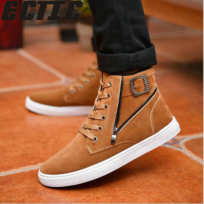QWEDF New Arrive Men Causal Shoes Autumn Winter Front Lace-Up Leather Ankle Boots Shoes Man Casual High Top Canvas Men AC-119