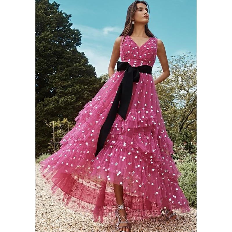 Verngo A line Evening Dress Formal Dress Rose Red Evening Dresses Long Elegant Prom Dress Party Gowns Vestido Plissado