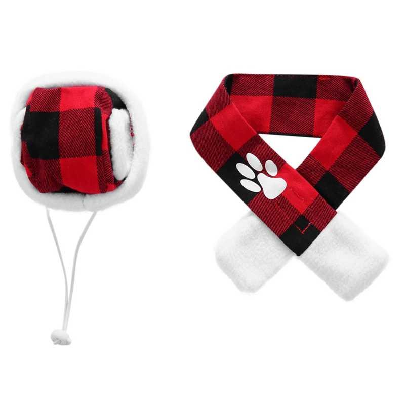 ペット犬のアクセサリーかわいいチェック柄のスカーフと帽子のセット小型犬子犬ペット犬猫パーティークリスマスドレスアップ衣装