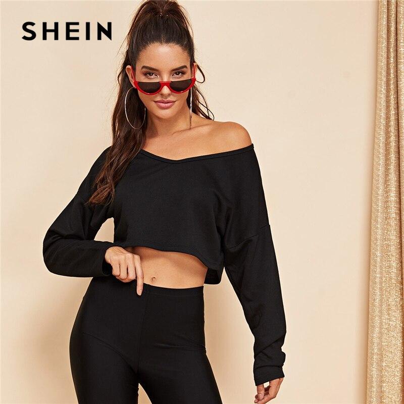 SHEIN Black Drop Shoulder Crop Sweatshirt Pullover Women Summer Autumn Long Sleeve Solid V-Neck Stretchy Leisure Sweatshirts