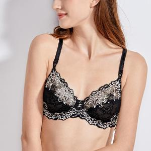 Image 2 - Womens Underwired Non Padding Floral Lace Breathable Balconette Bra Plus Size