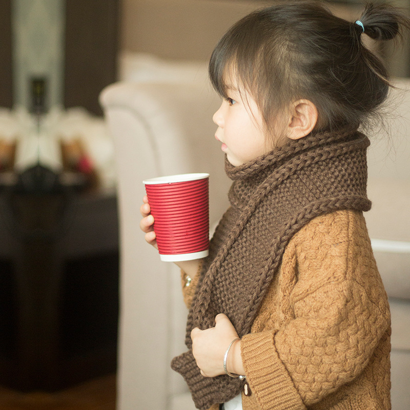 2019 South Korea Autumn And Winter CHILDREN'S Scarf Western Style Fashion Knit Baby Scarf Solid Color Cute Versatile Men And Wom