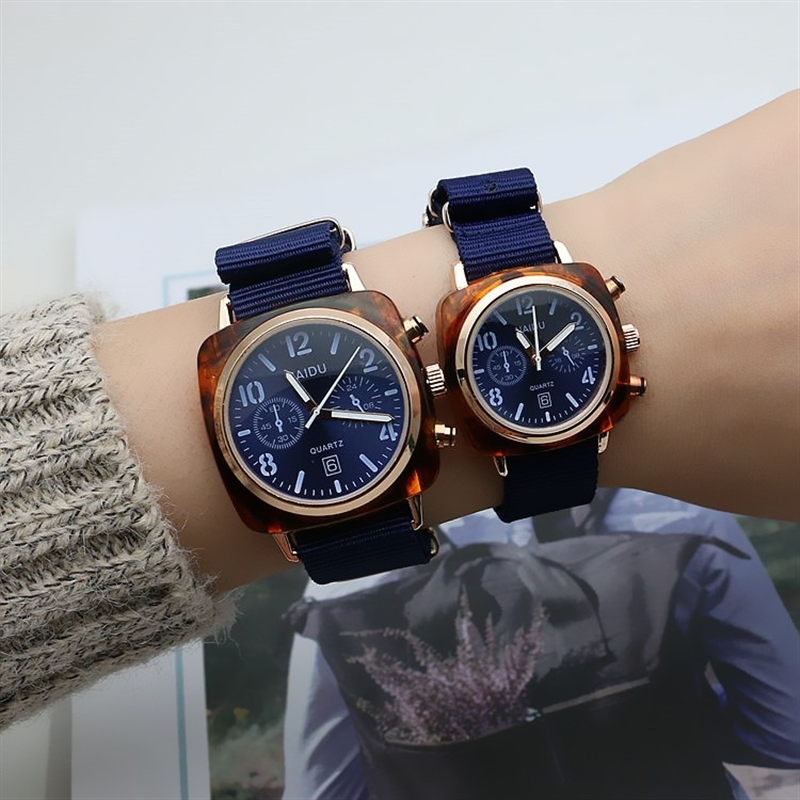 Hot Sale Couple Watches Pair Men And Women Glass Nylon Strap Fashion Lovers Wristwatch Red Watch Set For Valentine's Day Gift