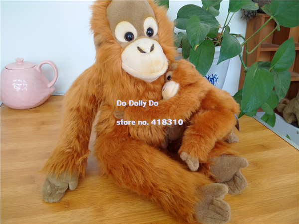 Original Lifelike Mom Baby Orangutan Simulation Animal Soft Stuffed Plush Toy Doll Children Baby Birthday Gift