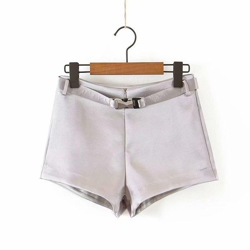 Woah 2019 Lin Jia 45-9130 European And American Fashion Belt Bright Face Shorts