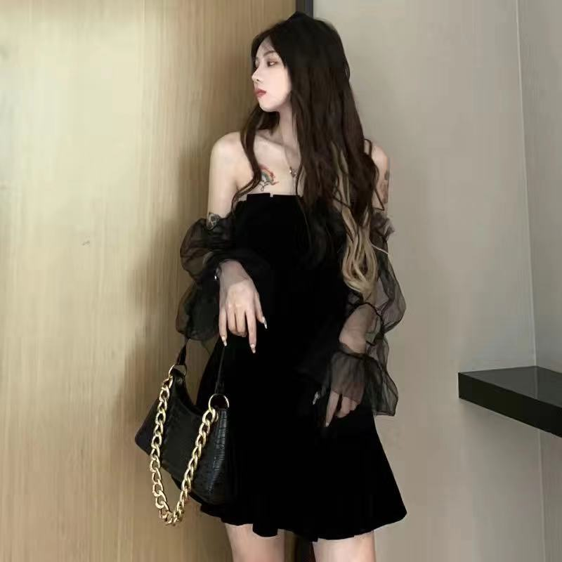 Women dress demon girl original black spring and autumn 2021 sexy high waist femme dress shoulder long sleeve gothic dress A085 8