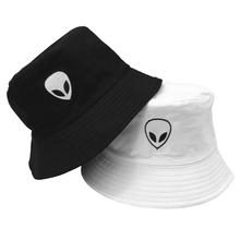 Unisex haftowane Alien składany kapelusz typu Bucket kapelusz przeciwsłoneczny na plażę Street nakrycia głowy rybak czapka z daszkiem mężczyźni i kobieta kapelusz tanie tanio COTTON Dla dorosłych Mieszkanie GEOMETRIC B0333 Na co dzień