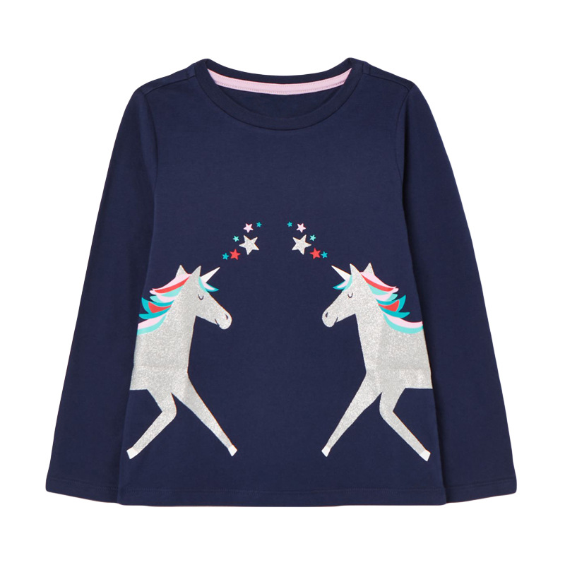 VIDMID Baby Girls Long Sleeve Casual T-shirts Kids Cotton Floral Cartoon Clothes Tops Children Girls T-shirts Tees Kids Baby Top 4