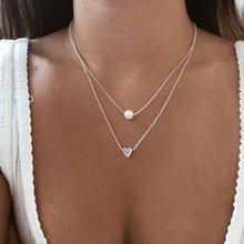 Новинка, Двухслойное ожерелье для женщин, имитация жемчуга, кристалл, сердце, подвеска, чокеры, ожерелье, подарок для девушек, Богемия, дешевые ювелирные изделия