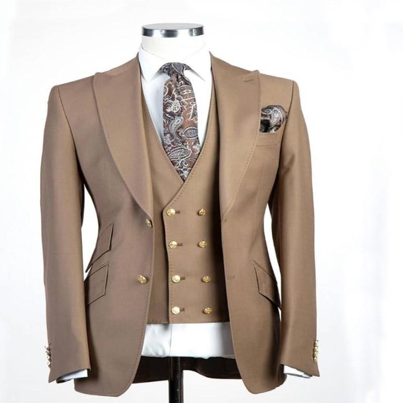 (Jacket+Pants+Vest) Custom Made Groom Tuxedo Best Men's Wedding Three Pieces Top Lapels Double Buckle Men's Business Suit