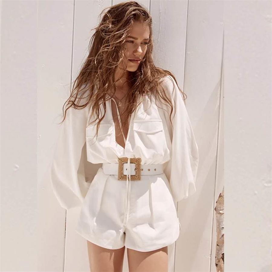 2020 Women Jumpsuit Long Sleeve Sexy Romper Women Female Holiday And Vocation Playsuits Top Quality Playsuits With Sashes