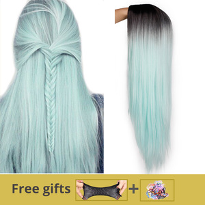 Ombre Green Straight Long Synthetic Wigs For Women Black Pink Wigs 24 inch 9 Color can be Cosplay Wigs I's a wig(China)