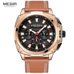 Image 3 - Megir カジュアルメンズ quarzt 腕時計ブラウンレザー防水腕時計男性高級スポーツクロノグラフ腕時計レロジオ masculino 2128