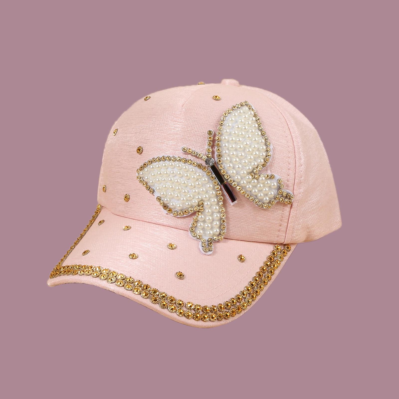 2021 Summer Outdoors Visors Hat Fashion Lovely Women's Hat Sequined Butterfly Baseball Cap Shading Hip Hop Cap Hat Sun Cap#3