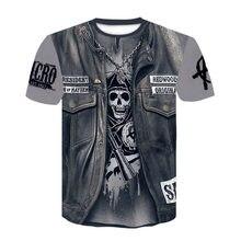 2020 nuovo 3d denim del cranio divertente T-Shirt, casuale degli uomini 3d stampato rock Harley Cavaliere Maglietta di estate di alta qualità t-shirt per gli uomini