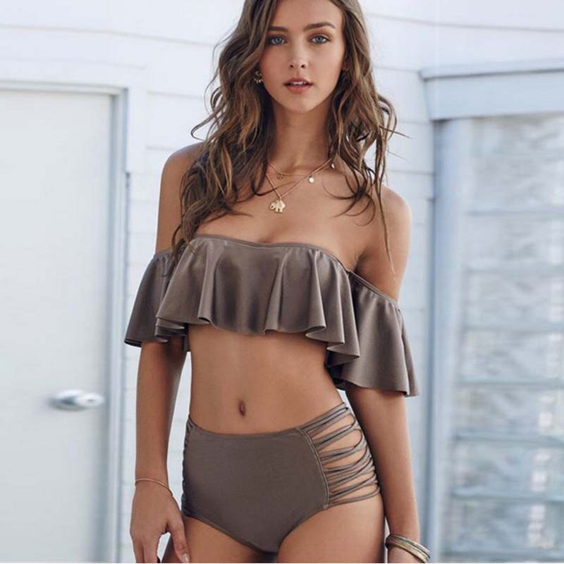 Bikini 2019 Ruffle Tube Top Swimming Suit Two Piece Push Up High Waist Bikini Set Solid Retro Bikini Traje De Bao Mujer Swimwear