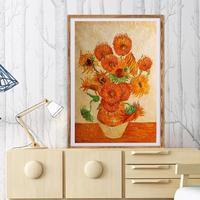 DIY Frame Oil Painting Simplicity Chinese Sunflower Window Wall Picture Bedside Study Bedroom Home Corridor Decor