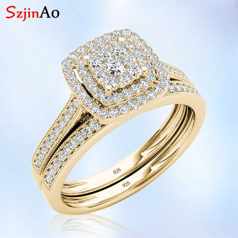 Szjinao 925 Sterling Silver Ring Sets Double Engagement Jewelry Lab 2 Diamond Rings Plated Yellow Gold Women Gift For Wedding