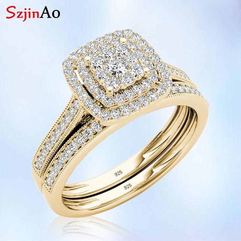 Szjinao 925 bague en argent Sterling ensembles Double bijoux de fiançailles laboratoire 2 anneaux de diamant plaqué or jaune femmes cadeau pour mariage
