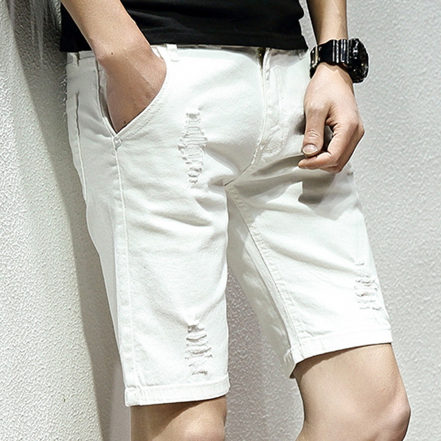 Men Summer Casual Hole Shorts Loose Straight Short Pants For Man Streetwear Vintage Shorts Black White Plus Size 28-42